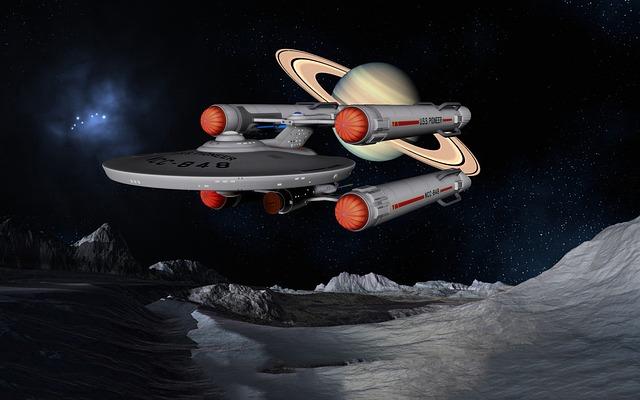 Vesmírná loď poblíž měsíce